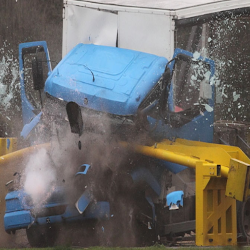Lorry crashing into barrier