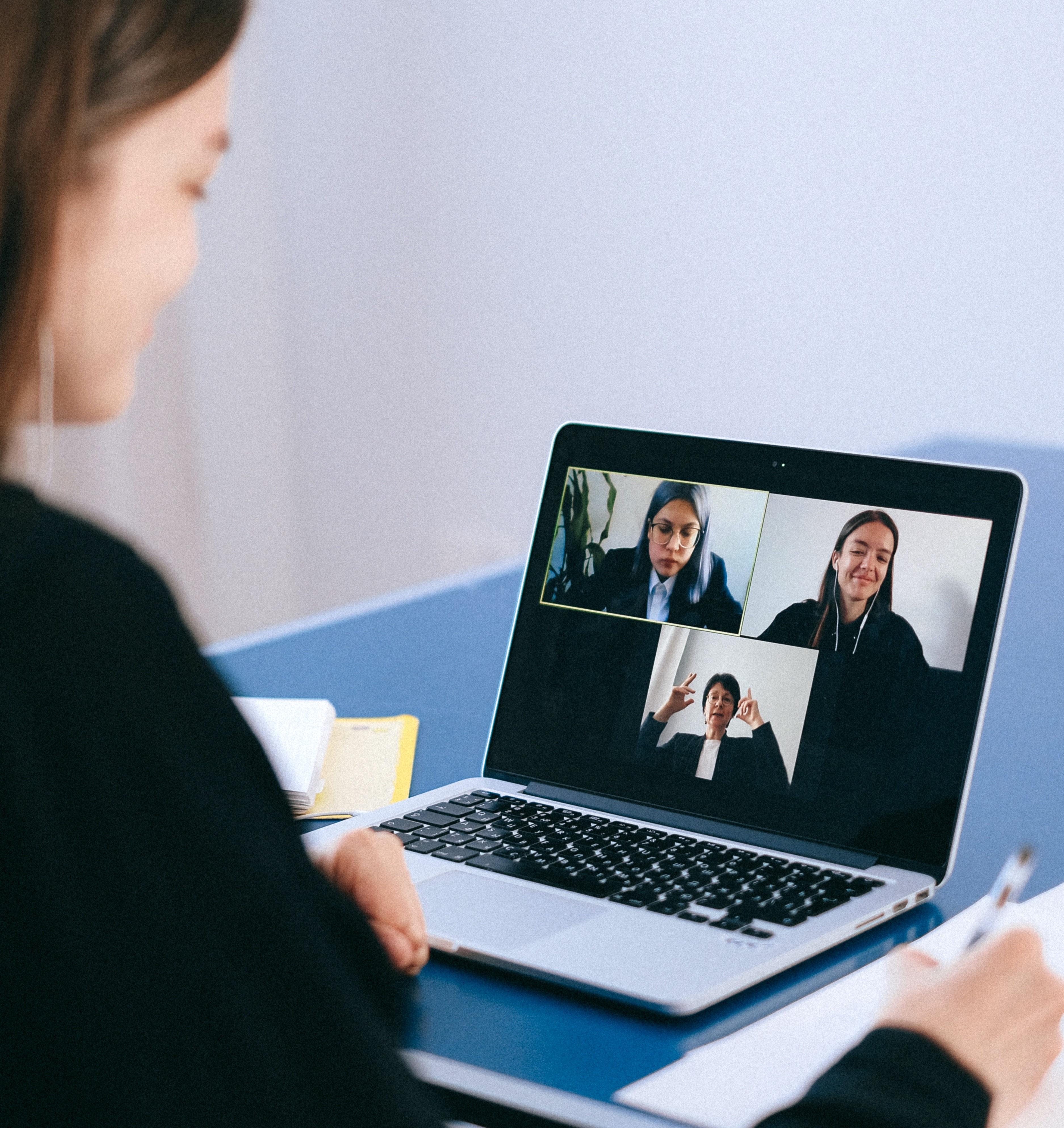 Woman on video call interview