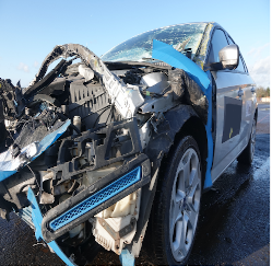 Front of car wrecked after a crash