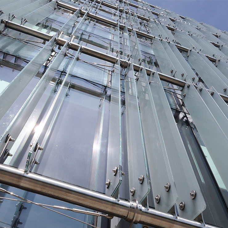 Front of a tall glass fronted building