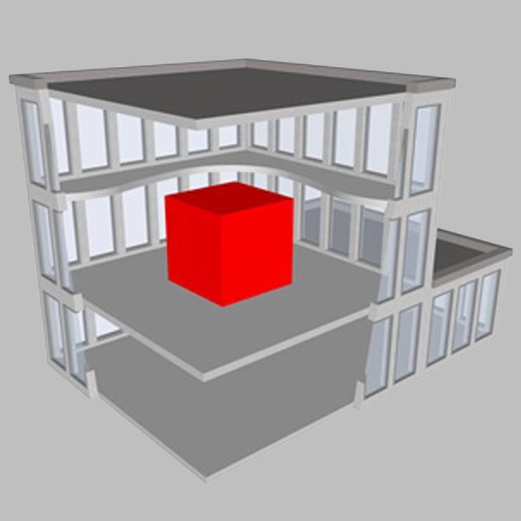 3D model of a secure room