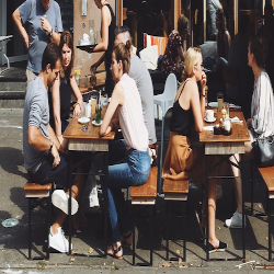 People dining outside